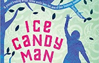 a blue tree, silhouette of a woman, a bird in a cage and text Ice Candy Man