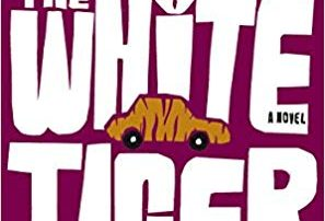 Purple background with white text The White Tiger with a stamp: winner of the man booker prize 2008