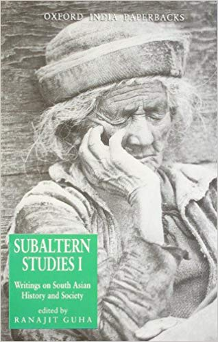 An old woman with a traditional hat with text Subaltern Studies I, Ranajit Guha