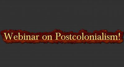 Brown color strip with text Webinar on postcolonialism!