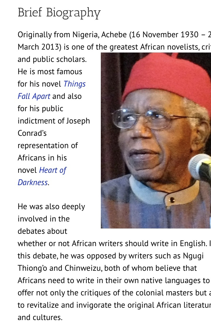 An african man in a red hat in front of a microphone with heading text Brief Biography, text Hear of Darkness, Things Fall apart