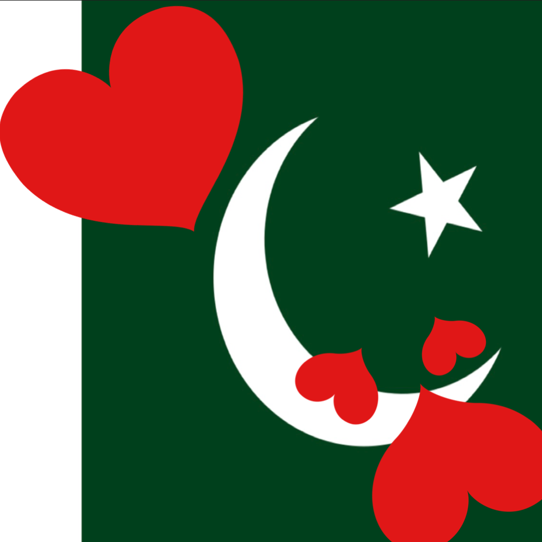 pakistan flag with red hearts on it